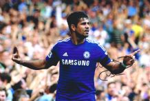 Diego Costa Authentic Autograph Photo Chelsea